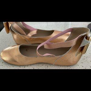 MONKEY FEET Ballet Flats Rose Gold EUC  (40) 8.5-9